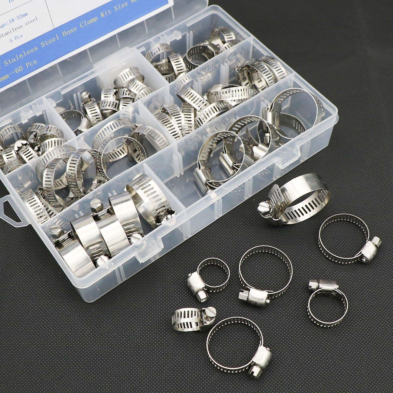 Fuel Line Clamps for Plumbing//Automotive//Mechanical Applications XINMKA 60 Pcs 304 Stainless Steel Adjustable 6-38mm Range Worm Gear Hose Clamp Hose Clamps