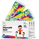 WeCare Kids Face Mask Disposable - 50 Pack - Individually Wrapped - Adorable Tie Dye for Girls and Boys - Soft on Skin…