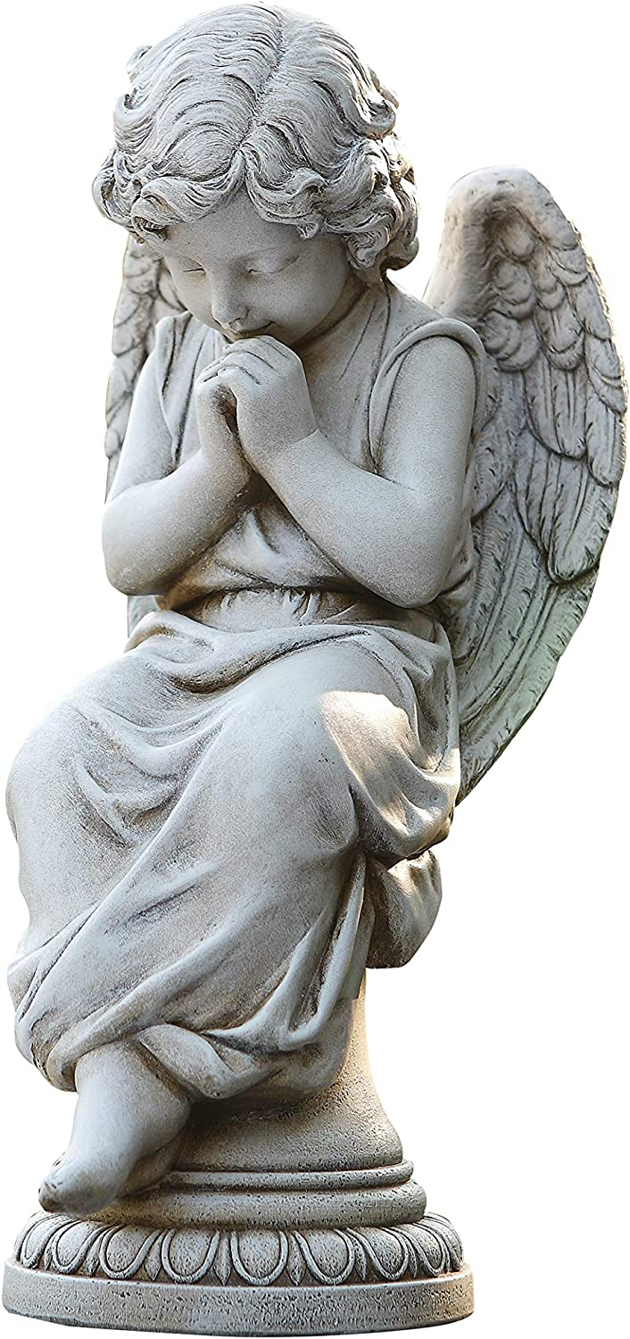 """Joseph's Studio by Roman - Seated Angel Statue, 17"""" H, Garden Collection, Resin and Stone, Decorative, Religious Gift, Home Indoor and Outdoor Decor, Durable, Long Lasting"""