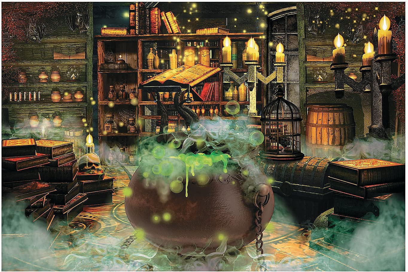 Amazon Com Witches Kitchen Backdrop Banner 9 Feet Long Halloween Party Decor Toys Games