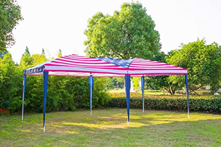 Erommy Folding Pop Up Canopy Tent American Flag Print Portable Slant Leg Shelter with Carry Case,10 20FT