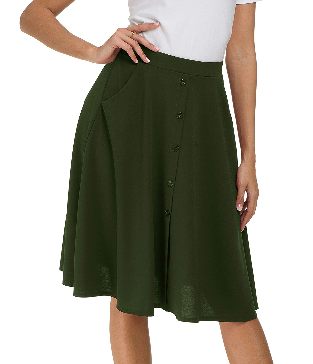 0f24ba8e1 Afibi Womens High Waisted A Line Pleated Midi Skirt Button Front Skirts  with Pocket at Amazon Women's Clothing store: