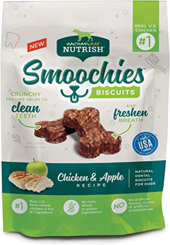 Rachael Ray Nutrish Smoochies Biscuits Natural Dog Dental Treats, Chicken Apple Biscuits Recipe, 3 Ounces Pack of 8