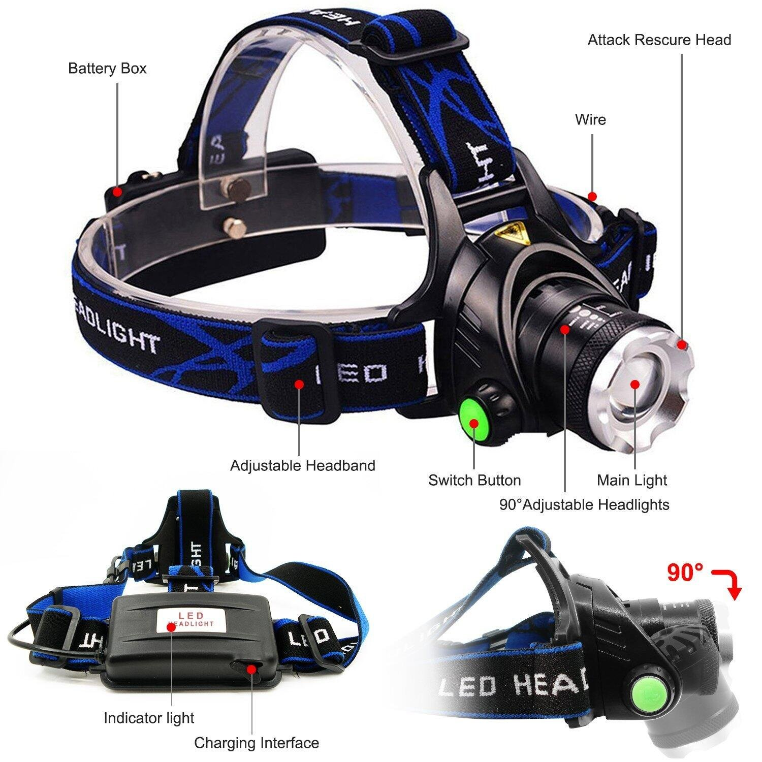 USB Rechargeable LED Headlamp Aidisun High Lumen Waterproof Headlight Zoomable Hand Free Flashlight Best for Camping Hiking Hunting Outdoor Sport or Home Emergency (18650 Battery Included) by Aidisun (Image #4)