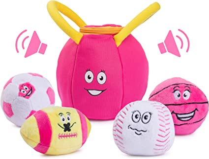 Plush Creations Gym Plush Bag with 4 Talking Soft Plush Balls Great Baby and Toddler Gift Gym Set Includes Plush Gym Bag Plush Basketball Plush Baseball Plush Soccer Ball and Plush Football