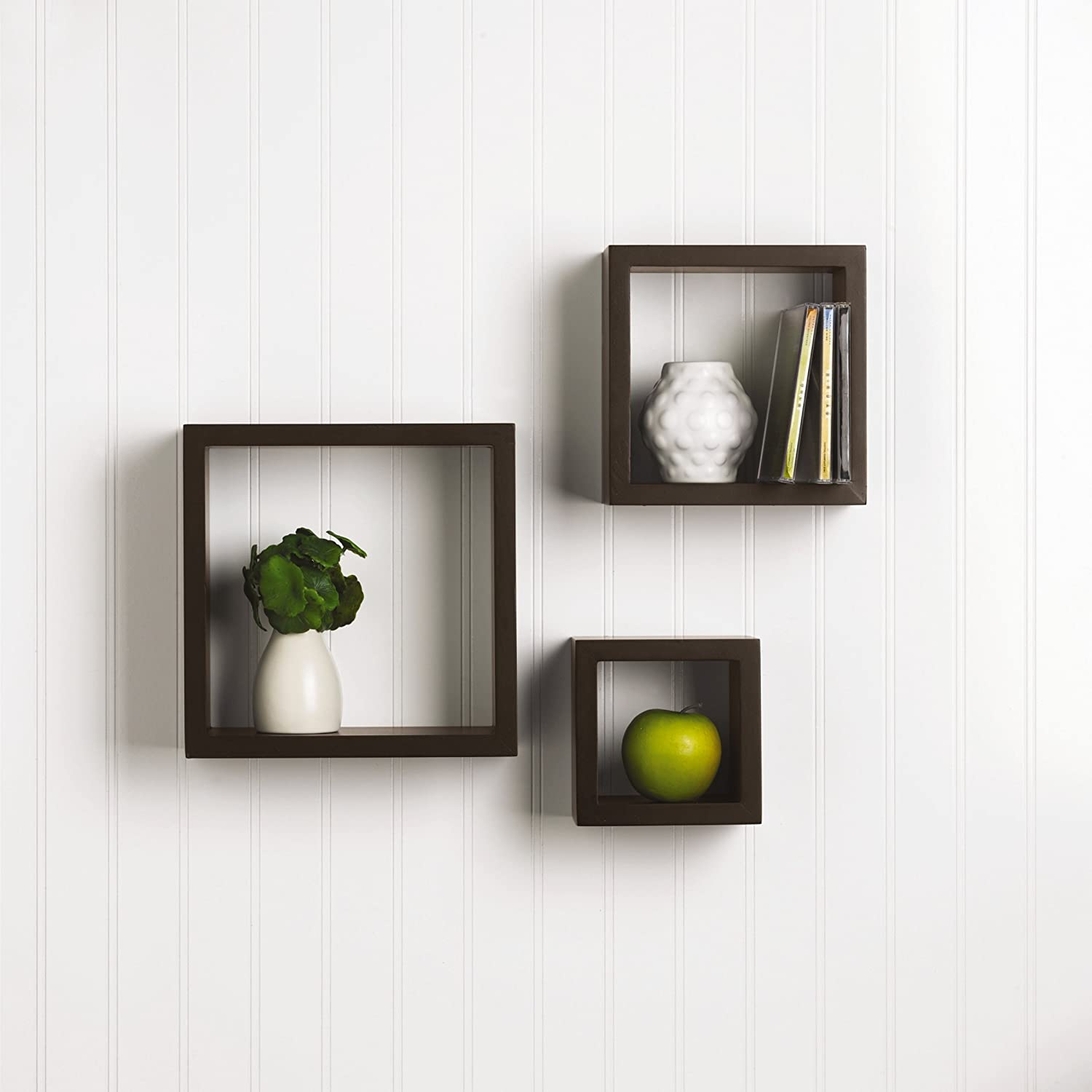 Amazon.com: Melannco Square Wood Shelves, Set of 3, Espresso: Home & Kitchen