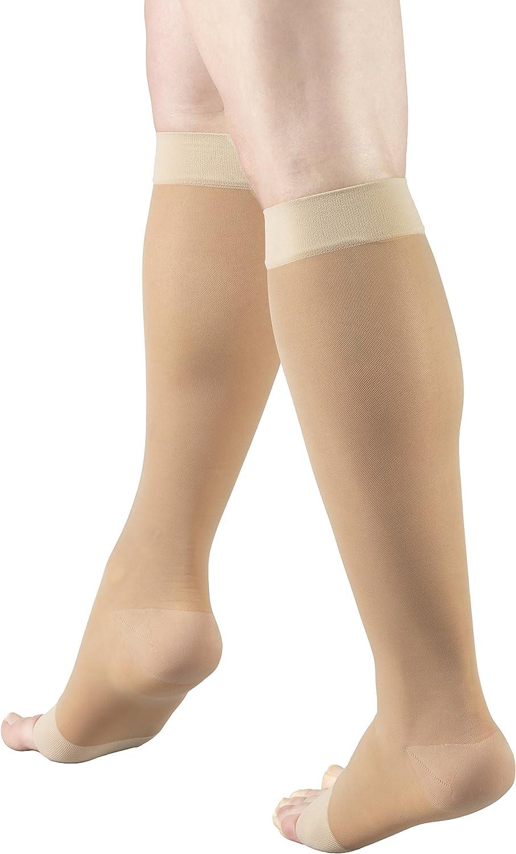 Truform Sheer Compression Stockings, 15-20 mmHg, Women's Knee High Length, Open Toe, 20 Denier, Light Beige, Medium