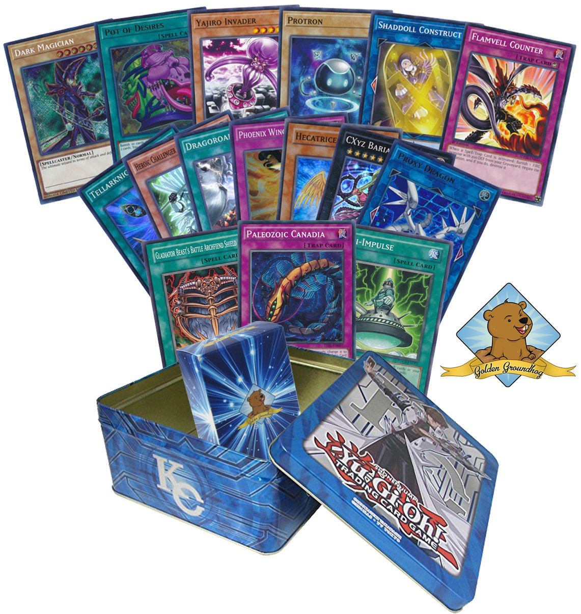 200 Yugioh Card Lot - Featuring Yugioh Holo Cards! Comes In Yugioh Tin! Includes Golden Groundhog Deck Box! by GoldenGroundhog
