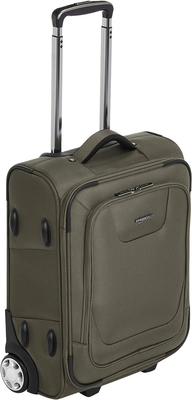 AmazonBasics – Maleta blanda expansible apta para cabina de pasajeros con candado TSA y ruedas, 48 cm, verde oliva