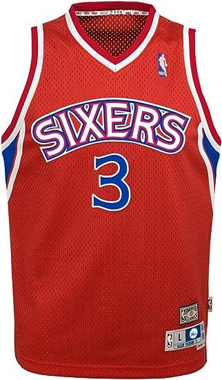 Outerstuff Allen Iverson Philadelphia 76ers #3 Black Youth Throwback Soul Swingman Jersey Small 8