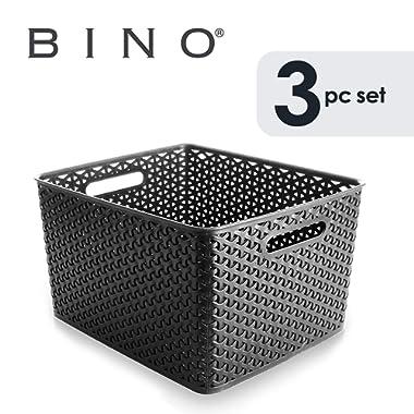 BINO T-Weave Woven Plastic Storage Basket (3PK- L, Grey)