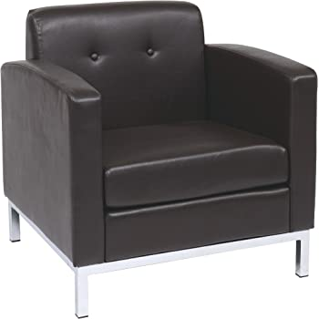 Ave Six Wall Street Faux Leather Armchair With Chrome Finish Base, Espresso