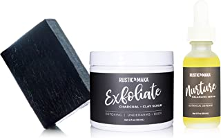 product image for Rustic MAKA DETOX Underarm Care System: CLEANSE (Activated Charcoal Soap), EXFOLIATE (Cleansing Scrub), and NURTURE (Balancing Serum)