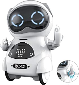 SPACE LION Educational Mini Pocket Robot for Kids Interactive Dialogue Conversation,Voice Control, Chat Record, Singing& Dancing-White