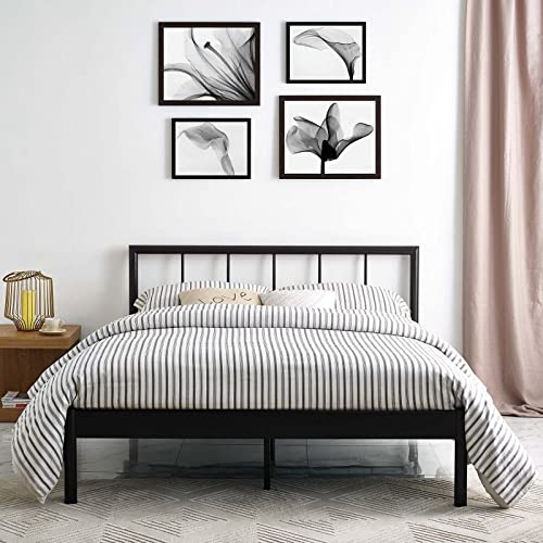 Modway Gwen Steel Metal Farmhouse Platform Queen Bed Frame