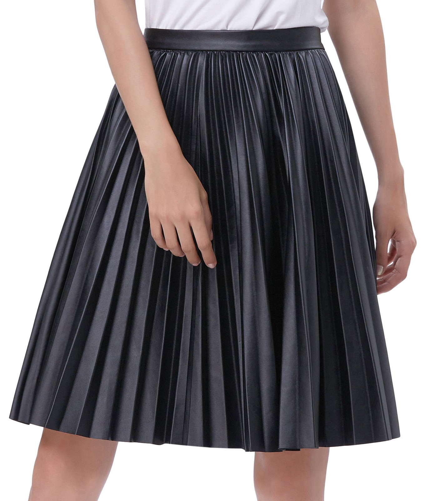 Basic A-Line Flared Pleated Midi Skirt Faux Leather Size XL Black