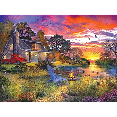 White Mountain Puzzles Evening Country Cabin - 1000 Piece Jigsaw Puzzle: Toys & Games
