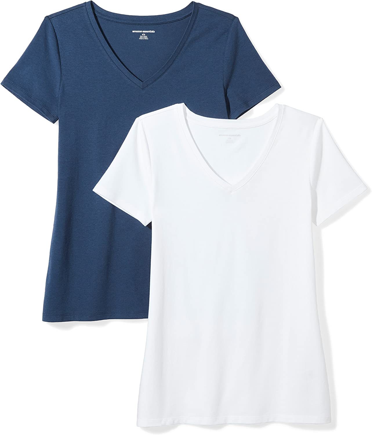 Essentials Women's 2-Pack Classic-Fit Short-Sleeve V-Neck T-Shirt: Clothing