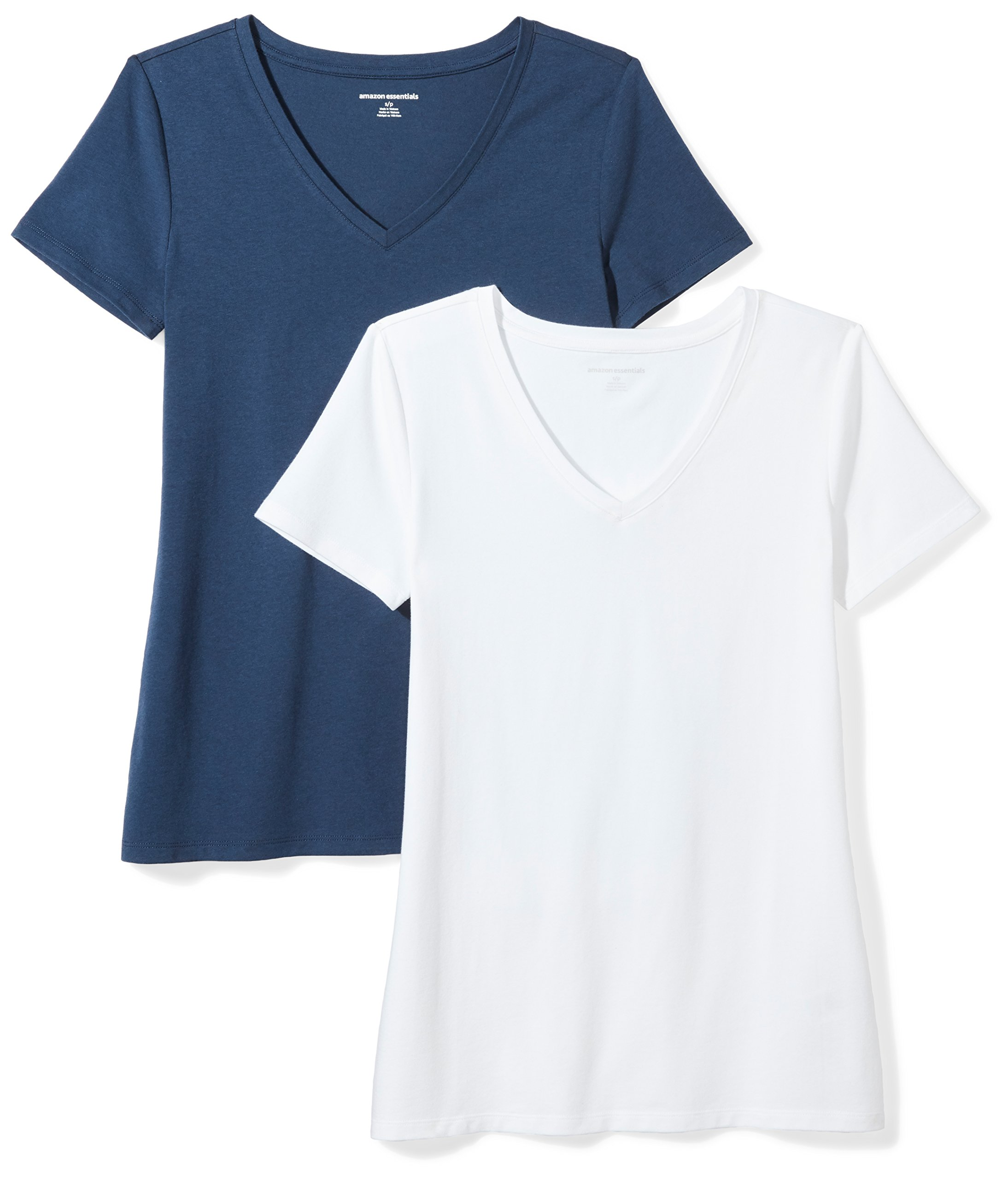 Amazon Essentials Women's 2-Pack Short-Sleeve V-Neck Solid T-Shirt, Navy/White, Large