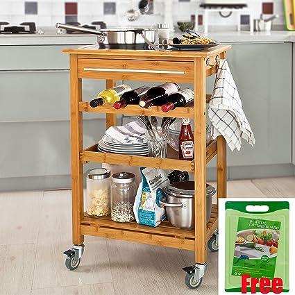 SoBuy Carrito de servir, carrito de cocina de bambú de alta calidad con Platt de