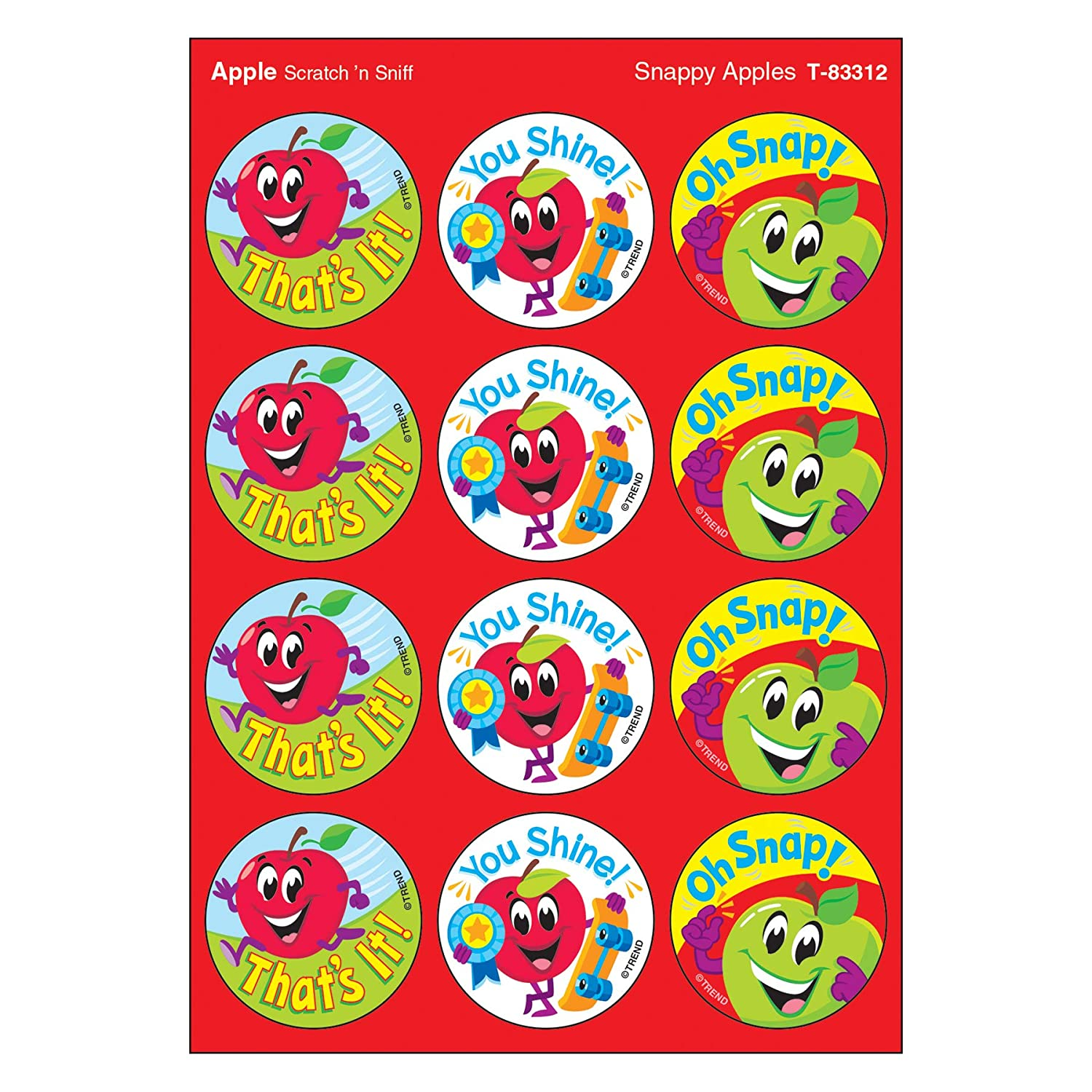 Snappy Apples/Apple Stinky Stickers, 48 Count