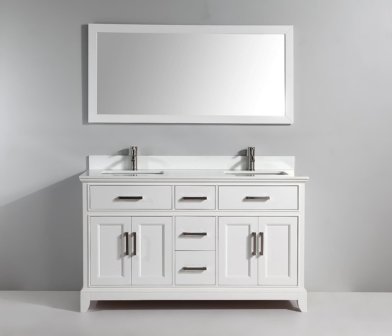 Amazon.com: Vanity Art 60 inch Bathroom Vanity Set Super White ...