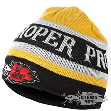 c63612a49b2 Guy Martin Limited Edition  Proper  Yellow   Black Beans on Toast Beanie Hat   Amazon.co.uk  Sports   Outdoors