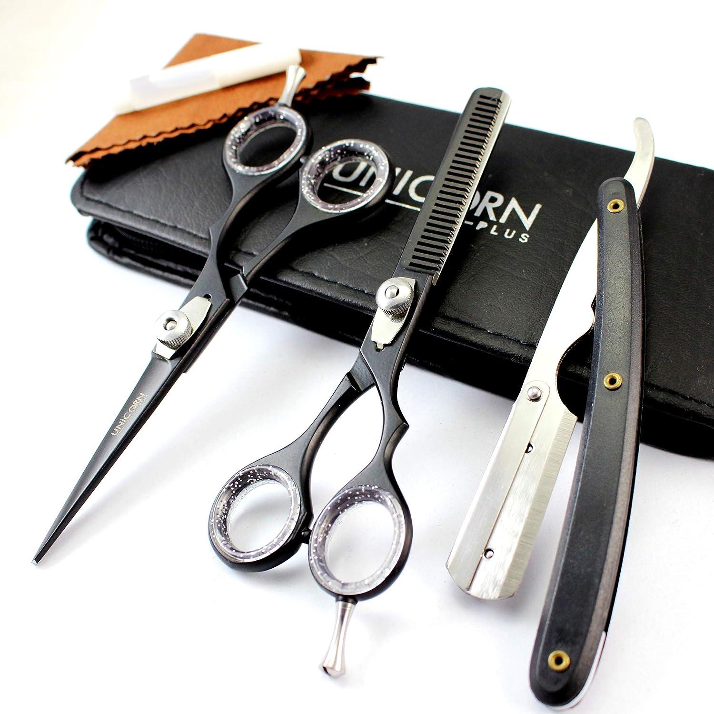 Professionelle Friseurschere Set Haarschere Friseur 5, 5Zoll effilierschere Rasiermesser mit Fall Unicorn Plus