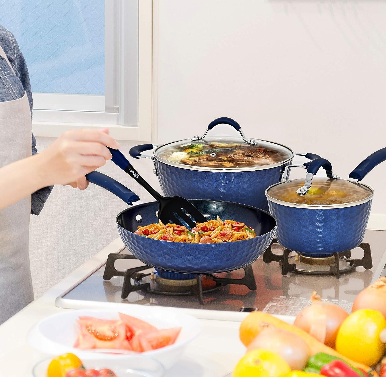 PERLLI Pots and Pans Set Nonstick Cookware Set Organic Ceramic Coating 12 Pc Set with Frying Pans, Cooking Pots, Saucepan, Lids Home Kitchen Utensils, Blue Diamond