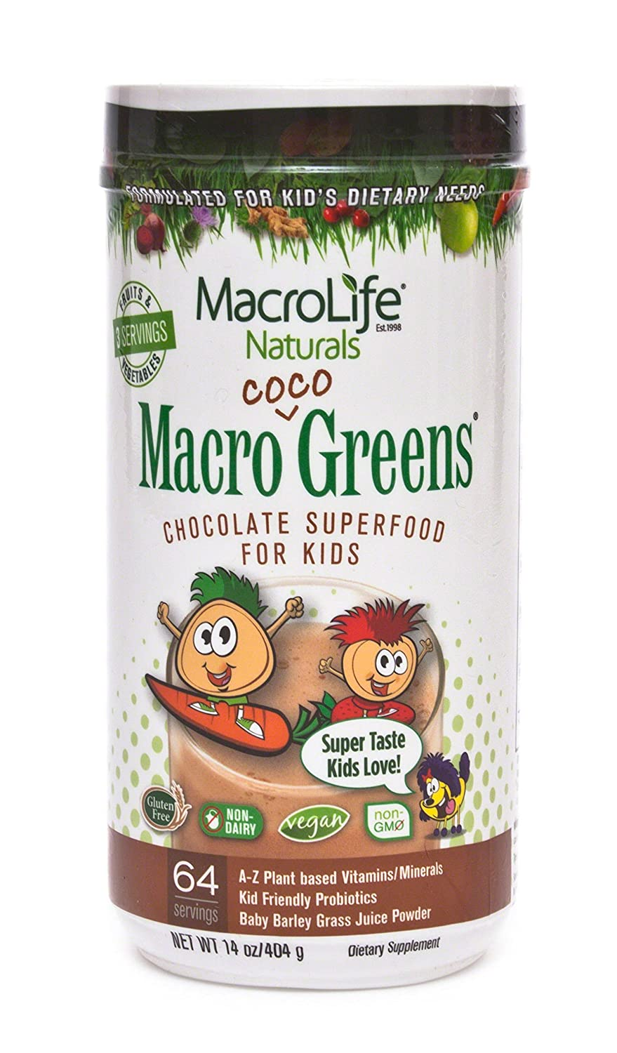 Amazon.com: MacroLife Naturals Macro Coco Greens Drink Mix for Kids, All Natural Green Superfood with 3.5 Billion Probiotics & Enzymes to Aid Digestion ...