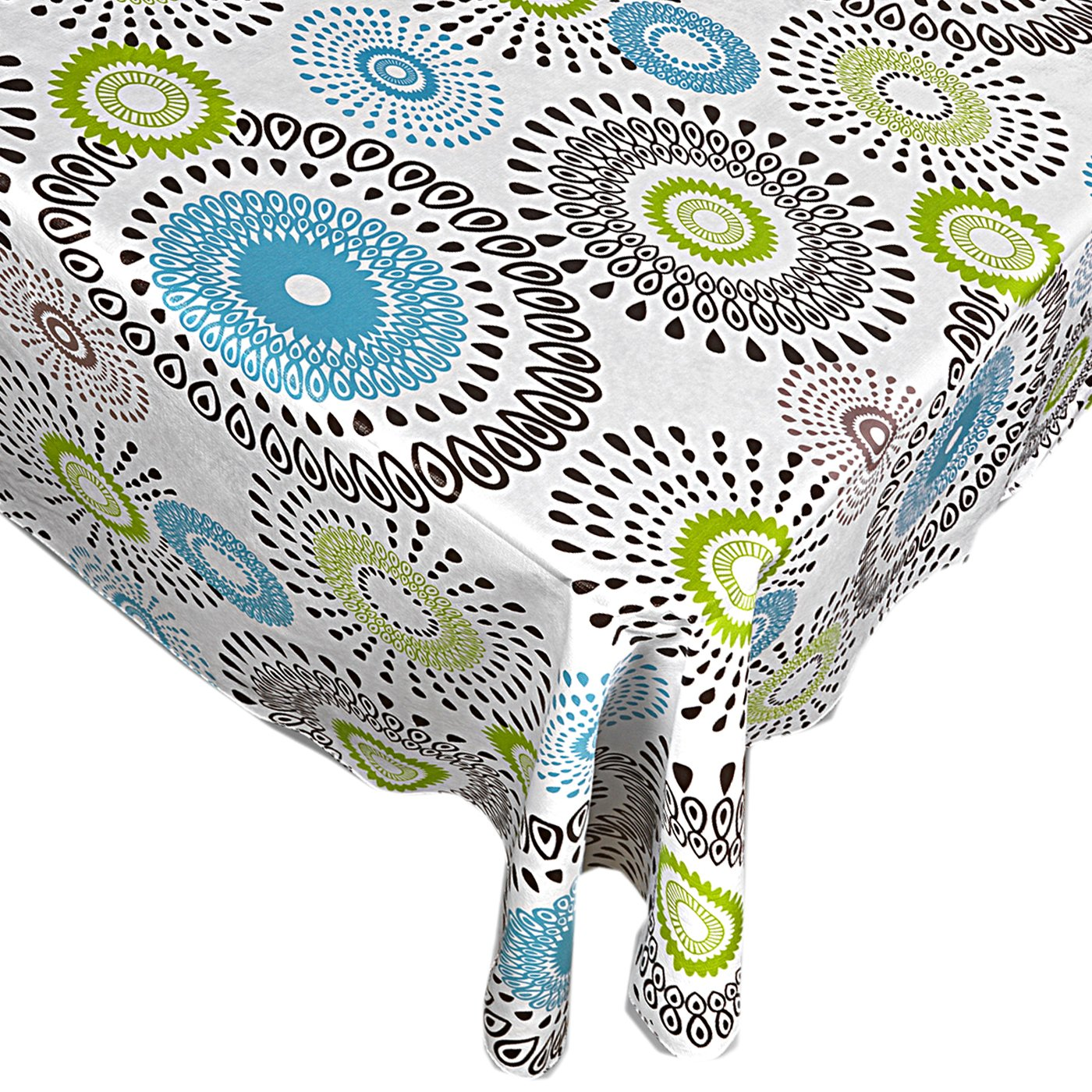 Whimsy Circle Contemporary Print Indoor/Outdoor Vinyl Flannel Backed Tablecloth - 70 Round by Home Bargains Plus (Image #2)