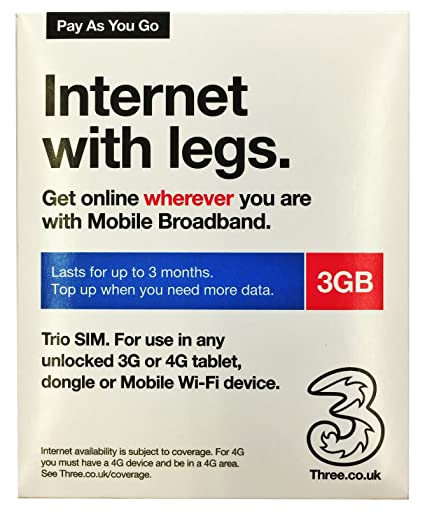 Threeデータ通信専用プリペイドSIM【3GBタイプ】【最大90日間有効】