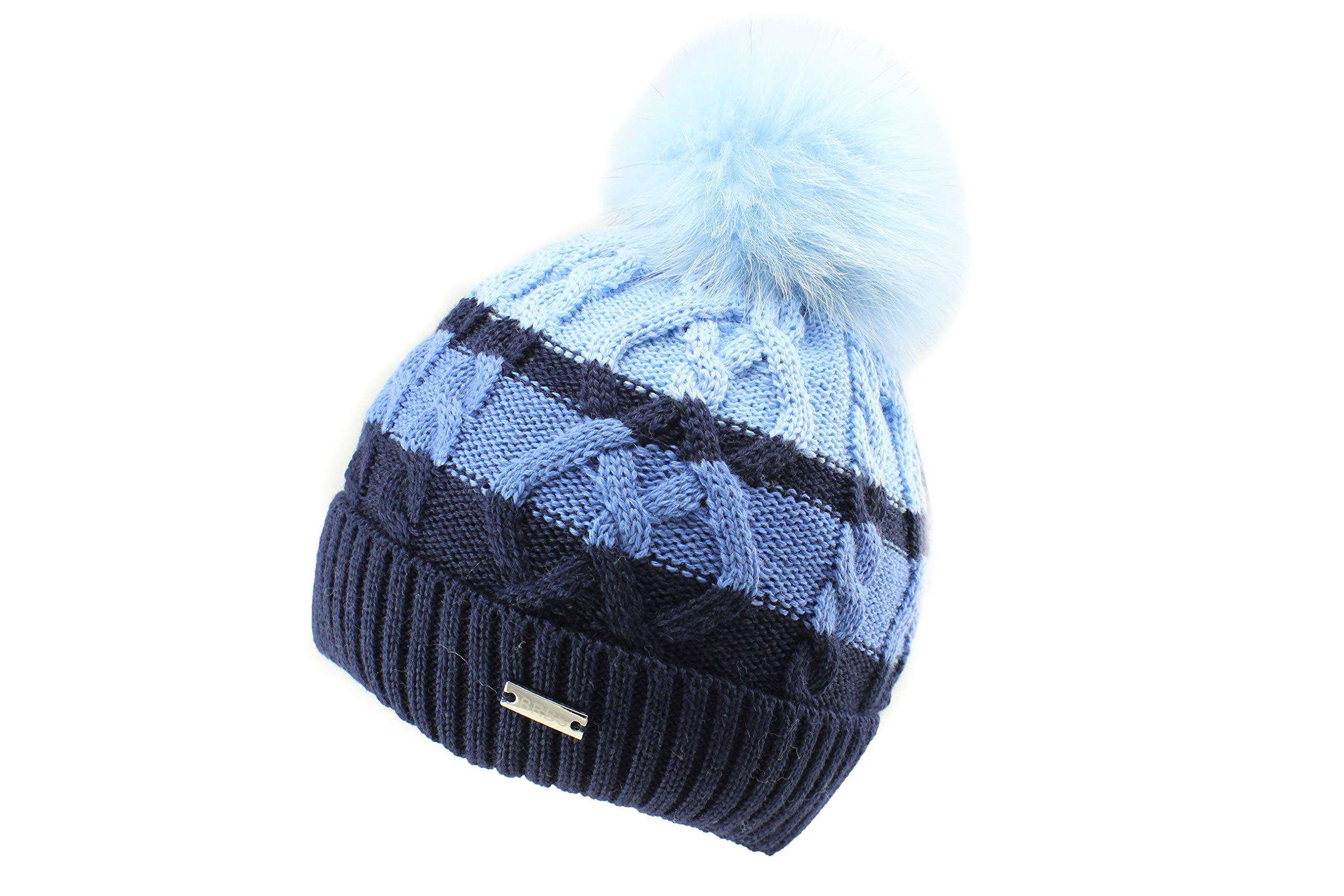 Barbaras Boys Blue Warm Winter Natural Fur Pom Pom Beanie Hat