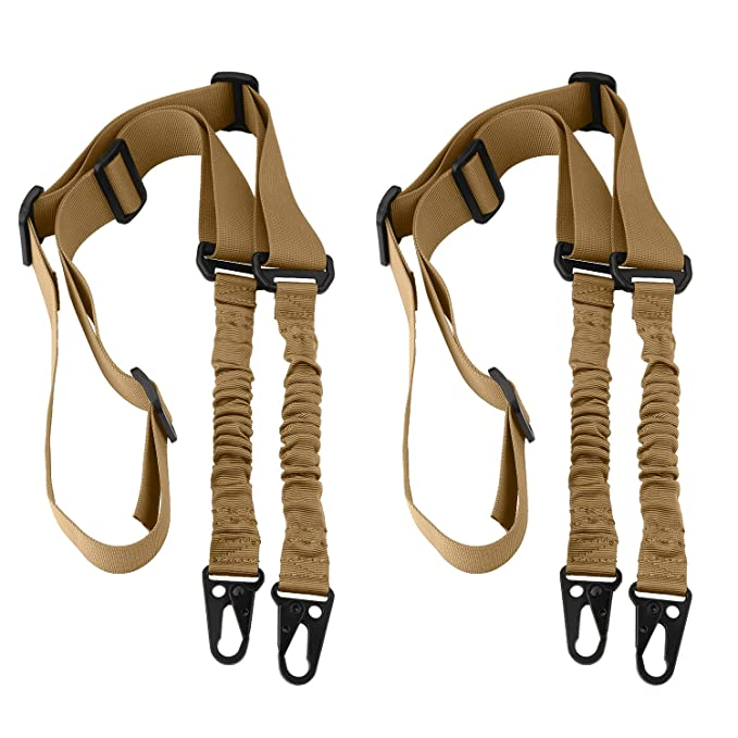 2 Point Rifle Sling, 2 Pack Multi-Use Upgrade Version Two Point Gun Sling with Length Adjuster for Hunting, Shooting