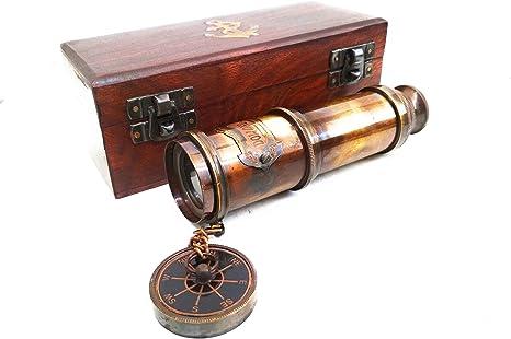 Telescopio náutico de latón con Caja de Madera para Manualidades: Amazon.es: Electrónica