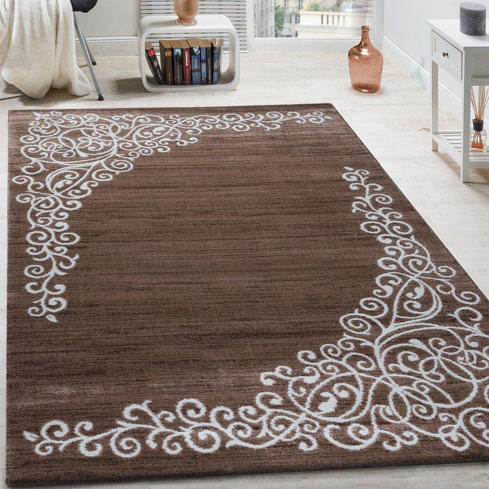 Paco Home Designer Teppich Mit Floral Glitzergarn Muster Beige Weiß Braun Meliert, Grösse 200x280 cm