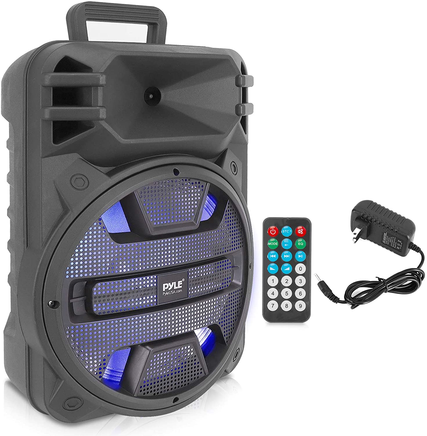 Portable Bluetooth PA Speaker System - 10W Outdoor Bluetooth Speaker  Portable PA System w/Microphone in, Party Lights, USB SD Card Reader, FM  Radio,