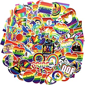 Water Bottle Stickers Gay Pride Stickers 100 pcs Bright Technicolor Rainbow Stickers Car Bike Scooter Suitcase Phone Refrigerator Laptop Cup Motorcycle Walls Bedroom Furniture Stickers (gay love 100)