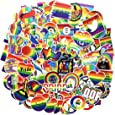 COOLCOOLDE Water Bottle Stickers Gay Pride Stickers 100 pcs Bright Technicolor Rainbow Stickers Car Bike Scooter Suitcase Phone Refrigerator Laptop Cup Motorcycle Walls Bedroom Furniture Stickers Gay Love 100