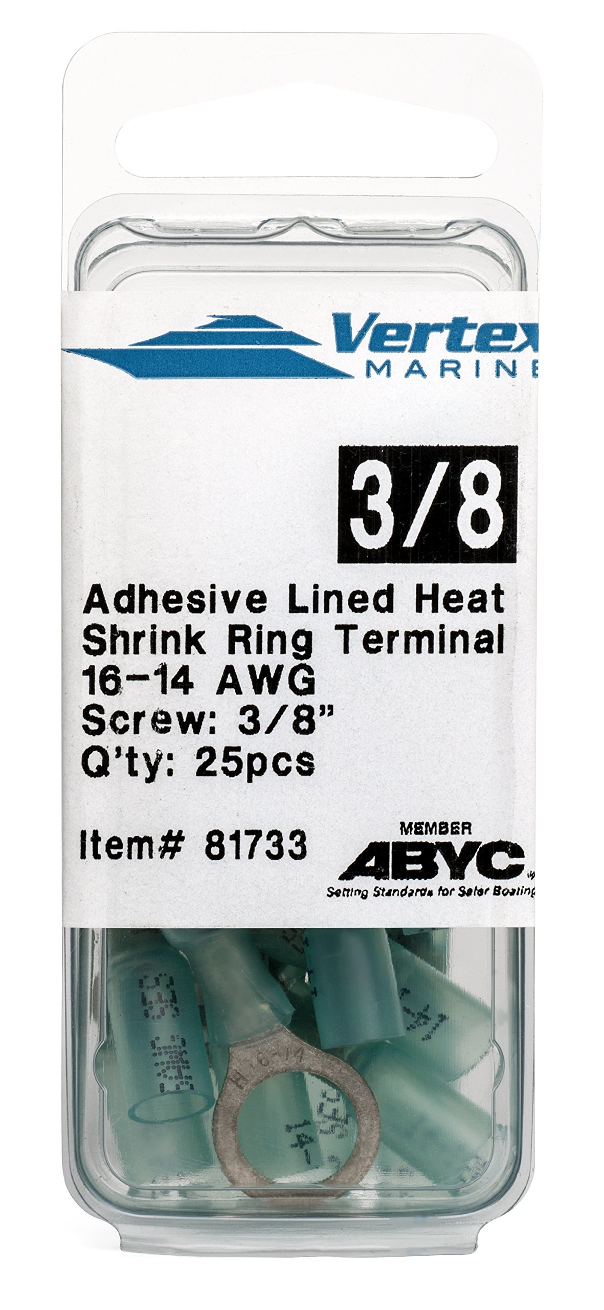 EWCS Ring Terminal Marine Grade - Adhesive Lined Heat Shrink - A81733-16-14 AWG - 3/8'' Stud - 25 Pack