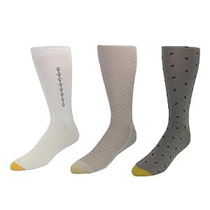 Gold Toe Men's Big & Tall Moisture Control Socks (3 Pair Pack), Beige Assorted