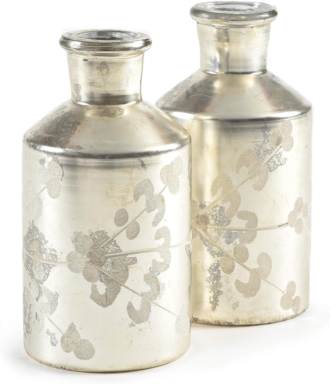 "Serene Spaces Living Mercury Glass Etched Bottle Vase – Handmade, Vintage-Inspired Mercury Glass Vase, Set of 2, Measures 5.5"" H x 2.75"" D"