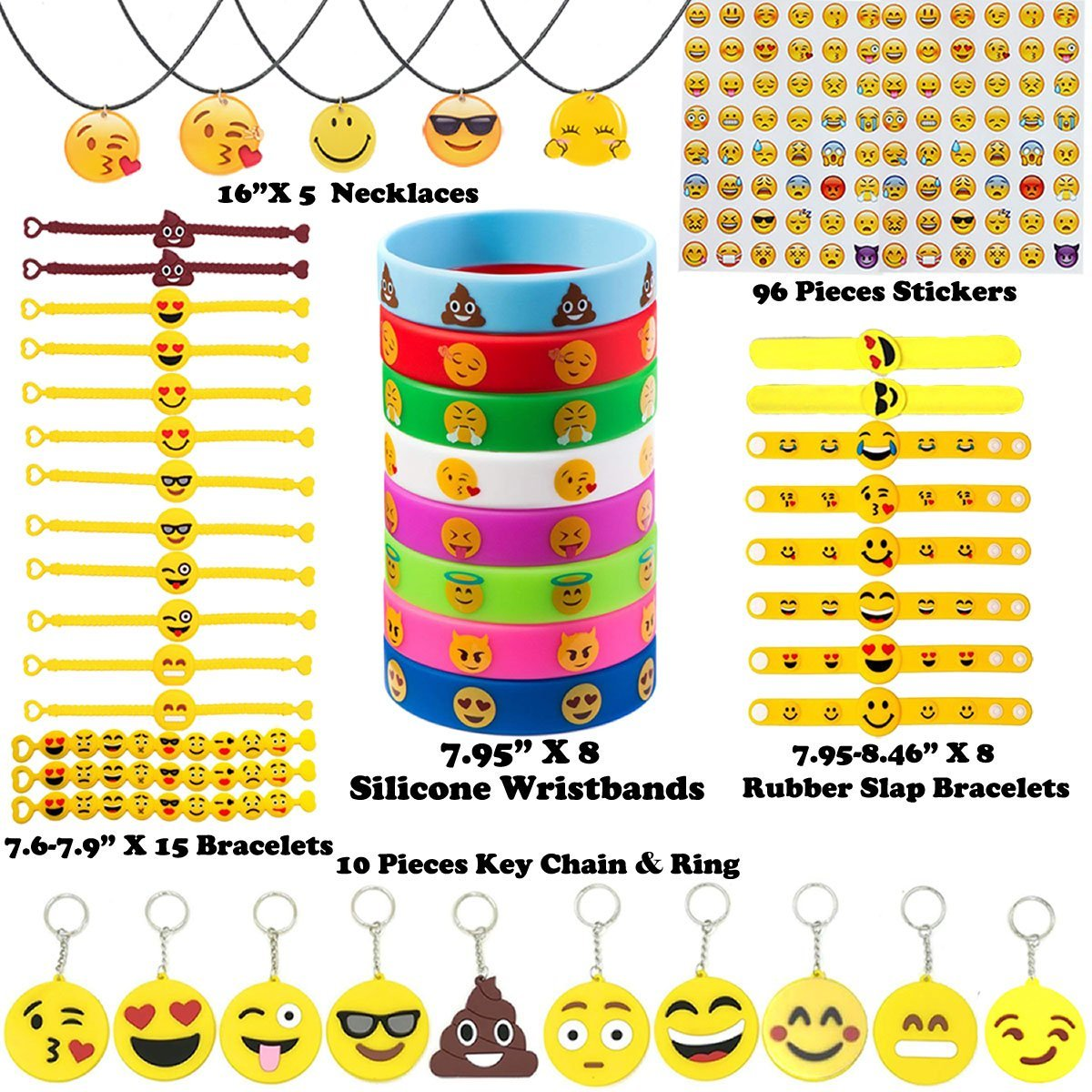 Emoji Party Supplies Kids' Dress-up Toys Bulk Set - 142 Pieces Emoticon Rubber Wristbands Bracelets Assorted Kit - Birthday Party Favor Decoration Mega Pack - Children Prizes Novelty Crafts Gift by Youwith Joy (Image #2)