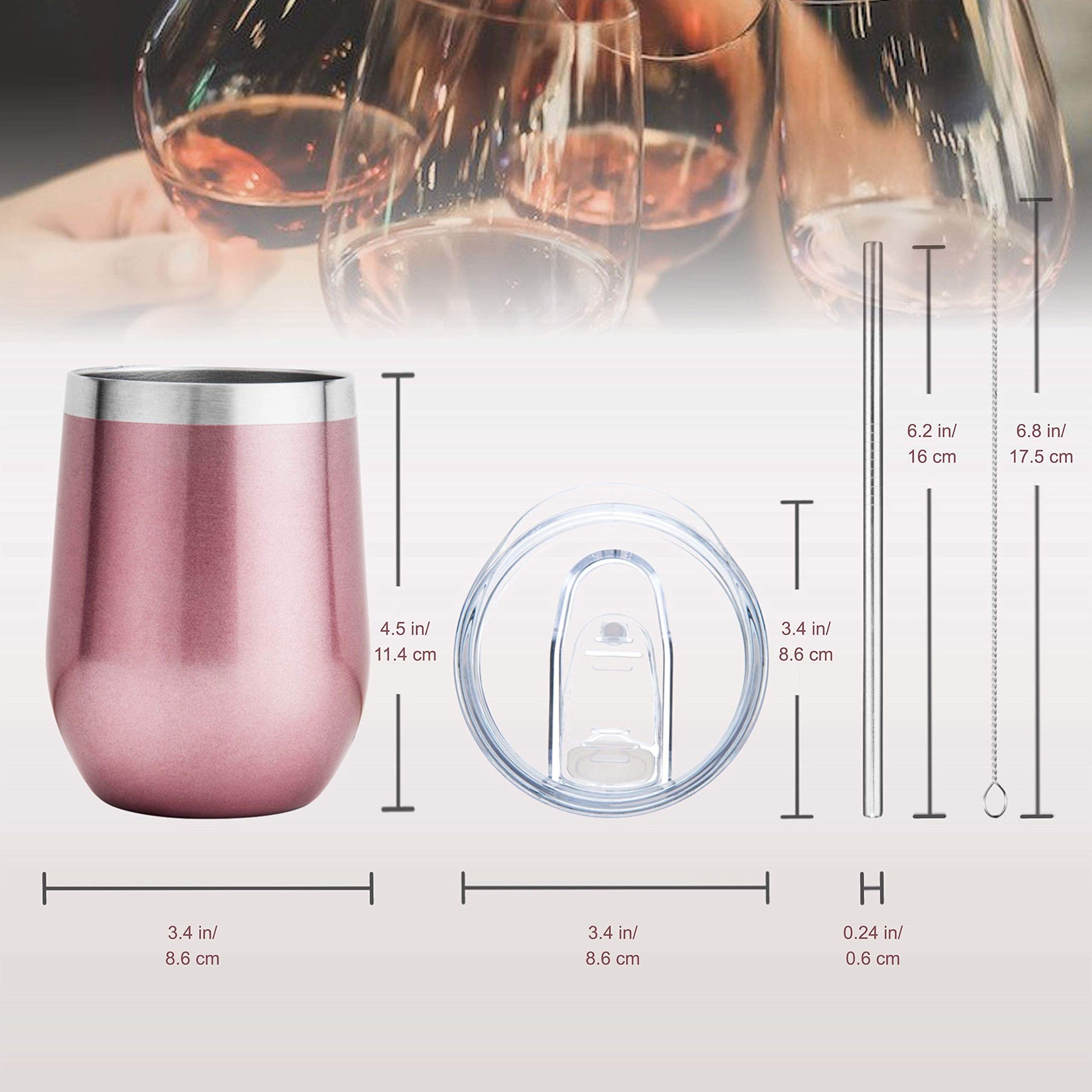 Carpe 12 oz Stemless Insulated Wine Glass Tumbler with Sliding Lid and Straw, Spill Proof Stainless Steel Double-Wall Wine Tumbler Cups for Champaign, Cocktail, Coffee, Drinks, Set of 2 (Rose Gold) by Carpe (Image #8)