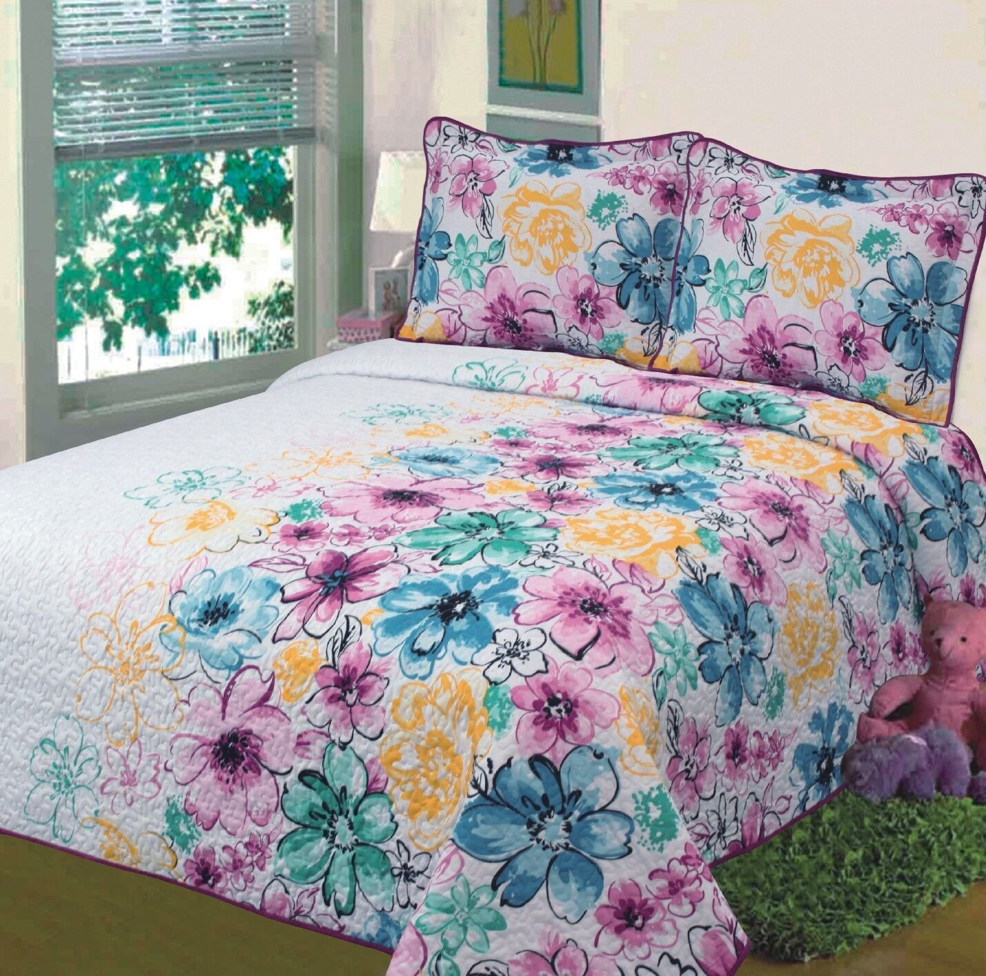 Fancy Collection 3pc Bedspread Bed Cover Floral Off White Yellow Pink Blue Green/teal Floral New 0043 (California King) COMIN18JU008251