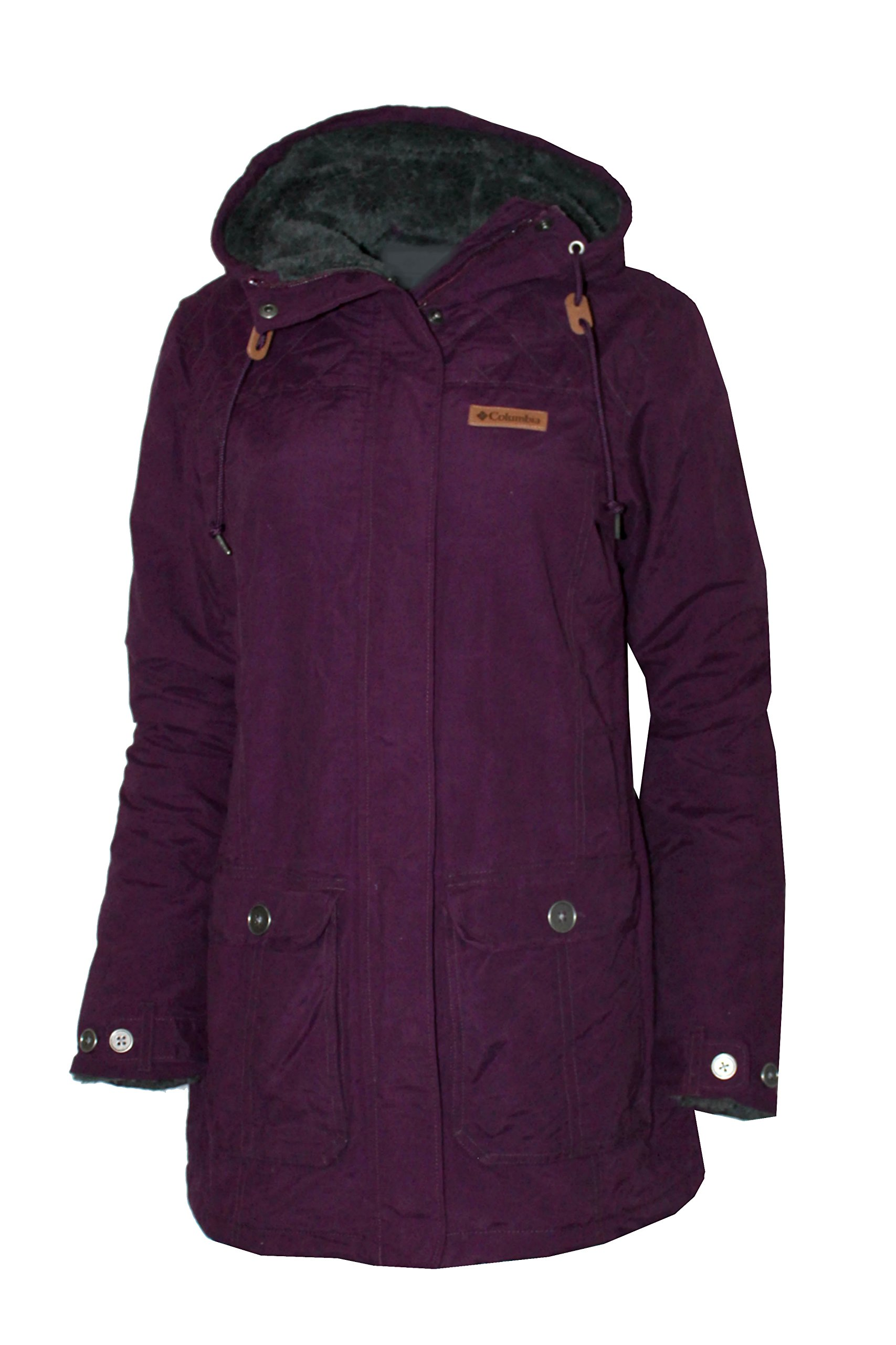 Columbia Women's Pine City Ridge Cotton Blend Plush Lined Hooded Jacket (L, Purple Dahlia)