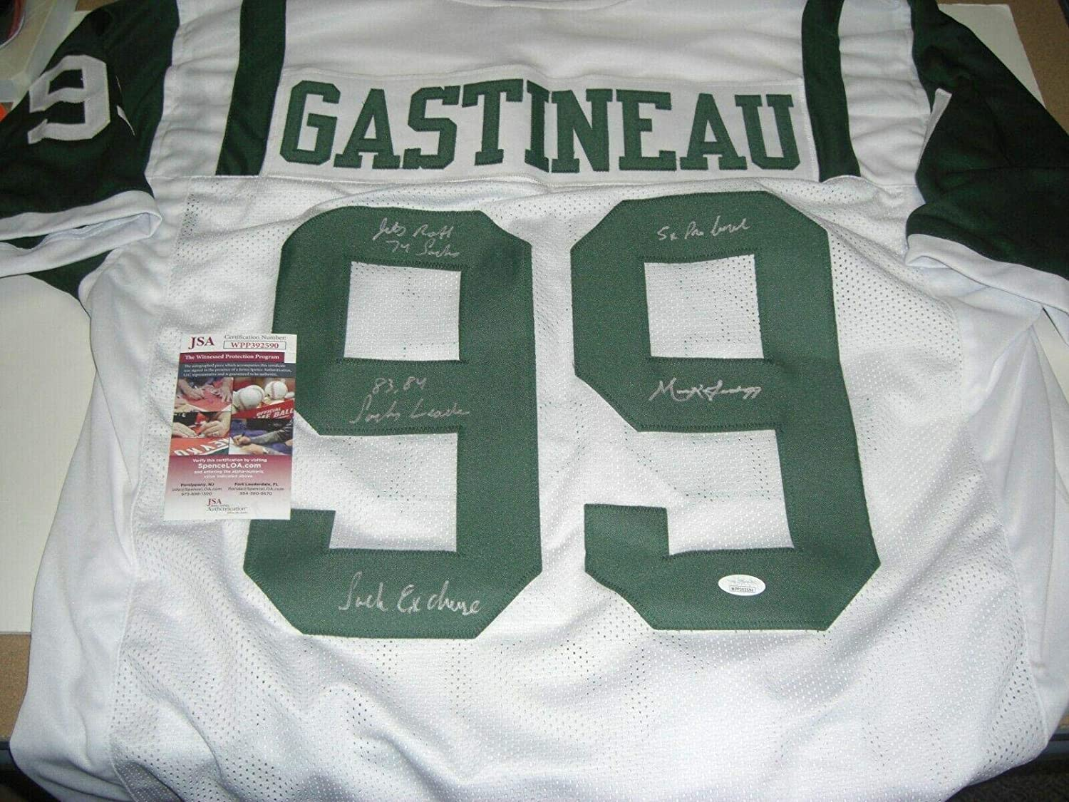 Mark Gastineau Autographed Signed Jersey JSA COA Ny Jets Football Autographed Signed Authentic Memorabilia
