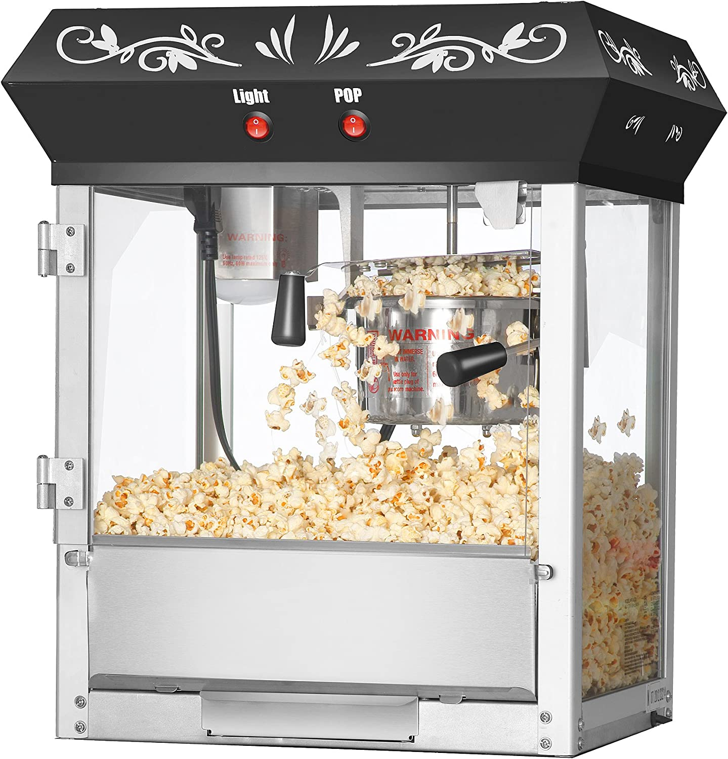 Amazon Com Great Northern Popcorn Black 6 Oz Ounce Foundation Old Fashioned Movie Theater Style Popcorn Popper Electric Popcorn Poppers Kitchen Dining