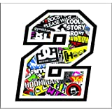 Adhesivo NUMERO 2 CARRERA RAZA 12 cm - STICKER BOMB - gara cross coche motocicleta pista sticker