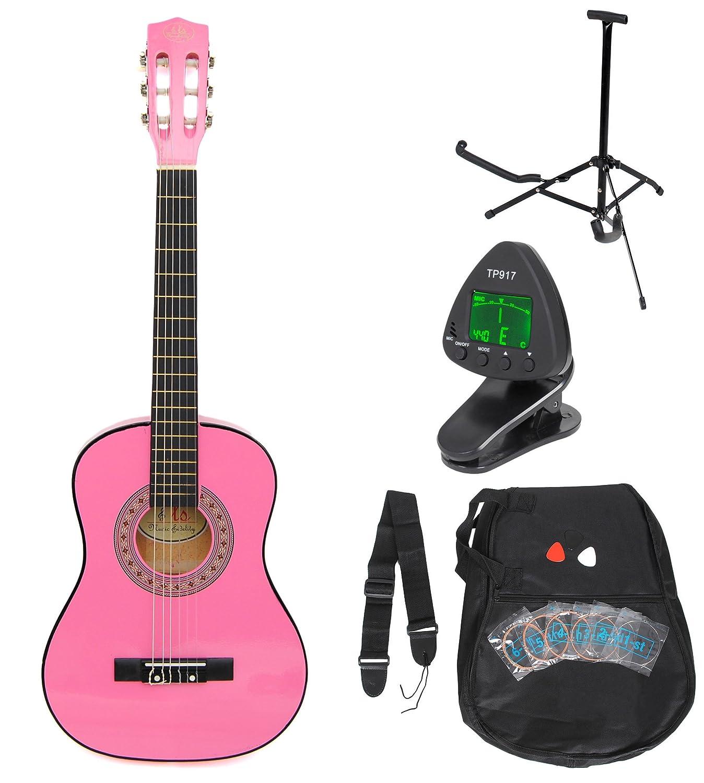 1/4 Kinder Akustik Klassik Gitarre Rosa Konzertgitarre ca. 4-7 Jahre als Set mit Stimmgerät, Gitarrenständer, Ersatzsaiten und drei Plektren Gitarrenständer ts-ideen 5342